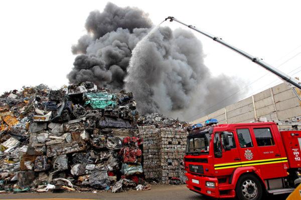 waste treatment plant foam fire extinguishment